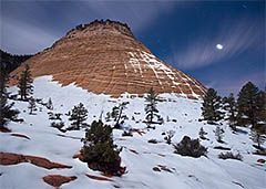 Checkerboard Mesa under Moonlight, Zion National Park, Utah