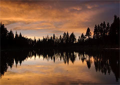 Reflection Lake Sunset, Lassen Volvanic National Park, California